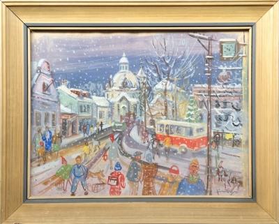 Jindra Jaromír (1895 - 1984) : Kunratické náměstí v zimě