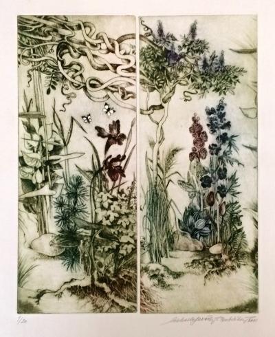 Lesařová - Roubíčková Michaela (1949) : Moje Zahrada - diptych Vistárie