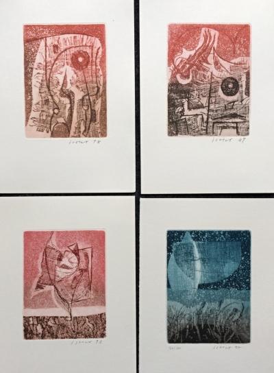 Istler Josef (1919 - 2000) : Konvolut 4 barevných leptů