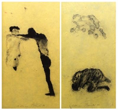 Šimotová Adriena (1926 - 2014) : Dvě originální kresby v knize F. Kafky: Dopisy Mileně