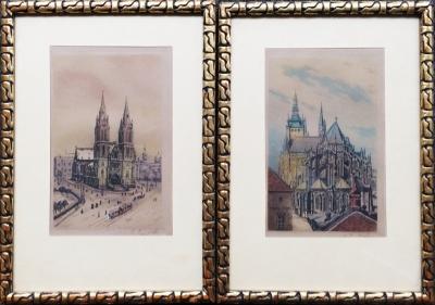 Sedláček - Hauptmann Jaromír (1899 - ?) : 2x grafika Praha